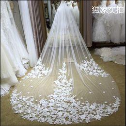 Wholesale Ivory Floral Veils - 3M Long Cinderella Court Tulle Wedding Veils One Layer Same color as Picture 3D Artificial Floral Bridal Veils