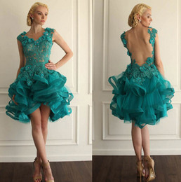 Wholesale Teal Lace Chiffon Dress - 2018 Myriam Fares Teal Sheer Prom Dresses Bling Crystal Beading Short One Shoulder Party Gowns Cheap Cocktail Dresses Prom Party