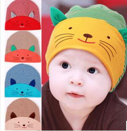 Wholesale Toodler Hats Wholesale - hot sale Fashion New Unisex Newborn Toodler Infant baby Striped Cotton Cap Cat Beanie Hat 5 Color free shipping TY1261