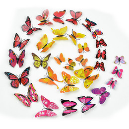 Wholesale Butterfly Refrigerator - Free shipping 12 Pcs set 3D plastic Butterfly Wall Stickers Decals for Kids Room Adhesive or magnetic to Wall or refrigerator cabinet door