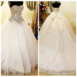 Wholesale Luxurious Bowknot Wedding Dress - Real Photos Sweetheart Beaded Crystal Ball Gown Wedding Dresses Bowknot Chapel Train Bridal Gowns Luxurious Bridal Gowns Custom Online 2015
