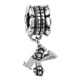 Wholesale Alphabet Beads K - 100% 925 Sterling Silver Beads Fit Pandora Charms Bracelet DIY Brand Fashion Jewelry Alphabet Dangle K 011