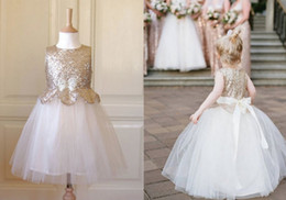 Wholesale Dresse For Party - 2016 Sequins A Line Little Bridal Flower Girl's Dresses For Wedding Party Princess Gold White Ruffle Bow Floor Length Tulle Pageant Dresse