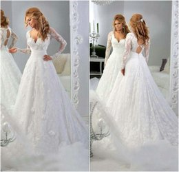 Wholesale Sweetheart Princess Wedding Dress China - V-Neck Lace Ball Gown Wedding Dresses With Applique Princess Gowns Long Sleeves Wedding Gowns Crystals 2015 New China Bridal Gowns Plus Size