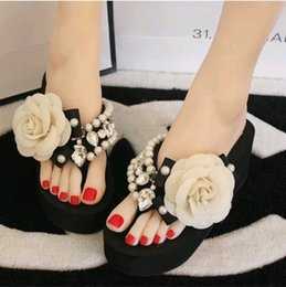 Wholesale Platform T Strap - Handmade camellia slippers rhinestone beaded platform wedges slippers flower flip flops sandals