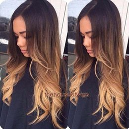 Wholesale Lace Front Wigs Color 27 - 1BT#4T#27 Ombre Lace Wig Human Hair Natural Hairline Glueless Wavy Full Lace Human Hair Wigs Ombre U part Wigs For Fashion Women