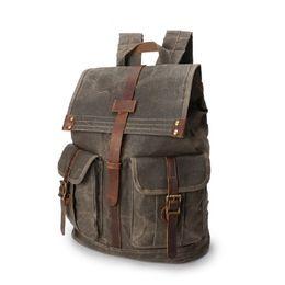 Deutschland Vintage Reiserucksack, Öl-Wachs-Canvas-Schultern-Tasche wasserdichte Bergsteiger-Tasche für 15,6-Zoll-Laptop supplier waxed canvas bags Versorgung