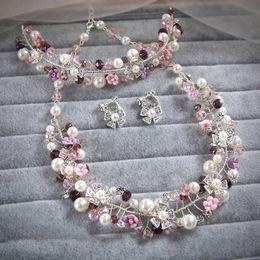 Wholesale Purple Bridal Jewelry Sets Pearl - New Flower Purple Rhinestone Crystal Choker Necklace Earrings Wedding Bridal Bridesmaid Brides Jewelry Sets Party Women Decoration