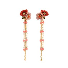 Wholesale Copper Sections - French Garden series pink peony flower stud earrings diamond-plated gold long section tassel earrings women's accessories new