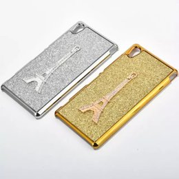 Wholesale Diamond Xperia - Deluxe Bling Sparkle Glitter Diamond Eiffel Tower Metallic Chrome Electroplate Hard PC Case For Sony Xperia M4 Z4 Z5 Chromed Plating Skin