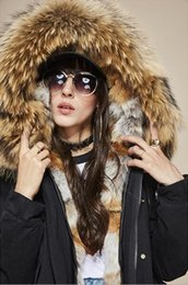 Wholesale Women S Fur Hoods - Hot sale itlay brown fox fur liner black cotton mini jackets with raccoon fur trim hoody the same as MR itlay