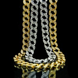 Wholesale Mens Diamond Jewelry - Mens Hip Hop Gold Chain Necklace Jewelry Simulated Diamond Crystal Cuban Link Necklace Fashion Punk Necklace