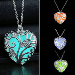 Wholesale Red Light Love - (In stock)Trendy Noctilucent Necklace Heart Hollow Pendant Necklaces Night Light Body Glow Pendant Women Sweet Gift Party