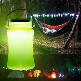 Wholesale Waterproof Led Table - Solar Waterproof Rechargeable LED Lantern Multifunction Outdoor Camping Light Portable Lantern Tent Light Storage Bottle Table Lamp
