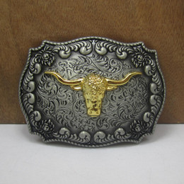 Wholesale Men Belt Buckles Western - BuckleHome western belt Buckle with bull head with pewter and gold finish FP-03522 with continous stock free shipping