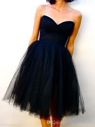Wholesale Knee Formal Dresses - Classy Tulle Black Bridesmaid Dresses Sweetheart A Line Short Bridesmaid Dress Zipper Back Ruffles For The Wedding Formal Under $100
