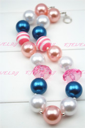 resin heart large Coupons - Chunky Necklace-Pink & Blue-Large acrylic beads Chuncky Necklace Girl Necklace for Kids CB117