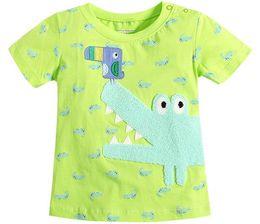 Wholesale Bird Printed Short Sleeve - 2016 Summer New Boy T-shirts Children crocodile Birds Print Green Fashion Short Sleeve T-shirts 1-6T 50724