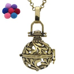 Wholesale Essential Olive Oil - Antique Bronze Tone Copper Peace Olive Branch Hollow Locket Pendant For Aromatherapy Essential Oil Diffuser Chain Necklace Charms Jewelry