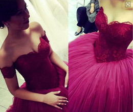 Wholesale taffeta empire ball gown - Ball Gown Burgundy Cinderella Prom Dresses Sweetheart Empire Princess Lace Tulle Pageant Gowns Floor Length 2016 Evening Gowns