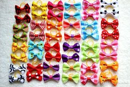 Wholesale Ribbon For Dogs Hair Wholesale - 2014 Hot Sales Mix Designs 50 pairs  lot 100pcs Top Quality Mix Ribbon dog pet hair bows for Festival dog grooming products 061010