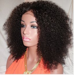 Wholesale Virgin Kinky Lace Wigs - Glueless Simulation Lace Human Hair Wigs Kinky Curly 100% Unprocessed Brazilian Virgin Hair Lace Front u part human hair wigs
