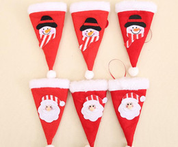 festive tableware Australia - Christmas decorations red Christmas little hat knife and fork set Christmas tableware cover dining table decoration Festive & Party Supplies