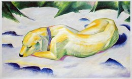 Wholesale Marc Painting - Free Shipping Dog Lying in The Snow by Franz Marc, Hand Painted Oil Painting for Gifts H-0581