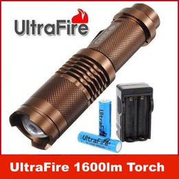 Wholesale 12w Led Flashlight - UltraFire 12W 1600lm CREE XML T6 LED ZOOMABLE Flashlight Torch Lamp 2* 18650 KIT