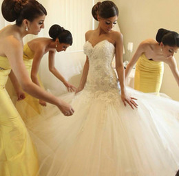 Wholesale Exquisite Beaded Wedding Dress - Sexy Mermaid Wedding Dresses Applique Beaded Strapless Sweetheart Neckline Floor Length Tulle Ruffle puffy Exquisite Outdoor Bridal Gown