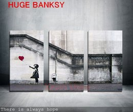Wholesale Seascape Abstract Oil Paintings - Freeshipping Canvas ONLY 3 pieces Large banksy there is always hope modern wall painting home decor print art on prints art