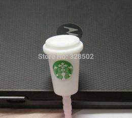 Wholesale Starbucks Phone Dust Plug - 30pcs KPOP cute starbucks headphone dust plugs for iphone sumsang 3.5mm jack plug phone accessories free shipping