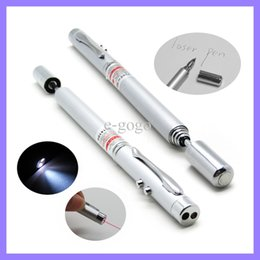 Wholesale Telescopic Ball - Laser pen MULTI FUNCTION 4 in 1 Red Laser Pointer LED Light Lamp Ball Pen Torch Telescopic Pointer to Teach Silver