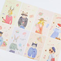 Wholesale Plastic Animal Figures Set - Wholesale- 28 pcs set Cartoon animal figure mini Lomo Card Greeting Card Postcard Birthday Letter Envelope Gift Card Set