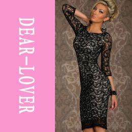 Wholesale Long Siren - Winter 2014 Black Siren Paisley Lace Midi long sleeve fashion formal evening Women Dress LC6142 cheap free shipping FG1511