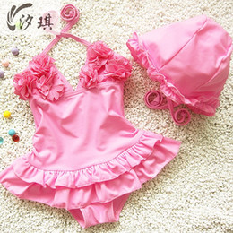 Wholesale Infant Girl Swim Suits - Wholesale- xiqi girls one piece swimwear 3colours children swimming suit infant swimsuit girls rash guard kids bathing suits with cap