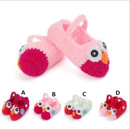 Wholesale Cheap Cute Baby Shoes - Cheap cute baby girls animal design owl pattern handmade Knitted shoes toddler shoes factory outlet A072109