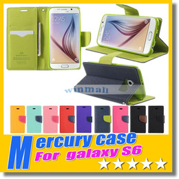 Wholesale S3 Flip Case Retail - With Retail package luxury Mercury Wallet Wallet Stand PU & TPU Hybrid Soft Case Flip Cover For Iphone 6 plus 5 5s 4 4s S3 S4 S5 S6 edge
