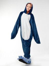 Wholesale Cute Apartments - Love Apartments flannel blue shark cartoon animals cute piece pajamas men and women lovers tracksuit