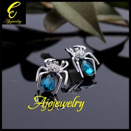Wholesale Sending Earring Boxes - FG Austrian crystal spider earrings 18K white gold plated party jewelry (send gift box)