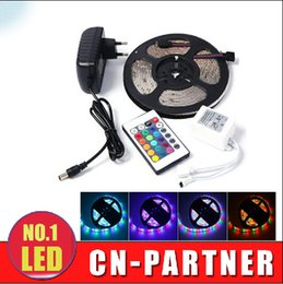 Wholesale Power Supply Prices - best price Waterproof 5M Roll 3528 SMD 60 LEDs M 300 LEDs RGB Flexible LED Strip Light With IR Controller with 2A EU US UK  AU power supply