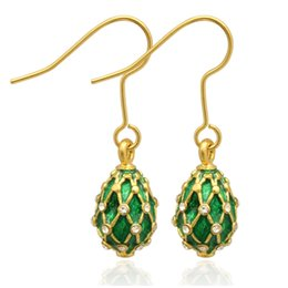 Wholesale Faberge Gifts - silver and gold Plating fashion NET faberge egg charm drop earring in Russian style for Easter Day