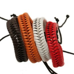Wholesale Womens Woven Bracelets - 4 colors adjustable new products weaved bracelet braid jewelry christmas unisex wrist cuff leather wristband womens