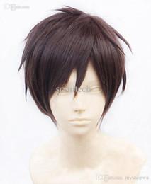 Wholesale Man Cosplay Wig Brown - Wholesale-free shipping Attack on Titan Eren Jaeger Short Dark Brown Cosplay Wig heat resistant fiber free Wig cap