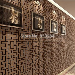 Wholesale Wholesale Wall Vinyl Rolls - Chinese Style Vinyl Wallpapers Grid,PVC Wall Paper Roll for walls,Vintage Geometric Wallpaper sHome Decor,Living Room Wallpaper