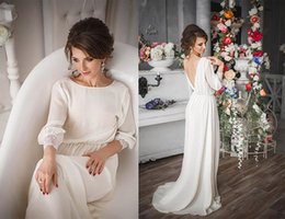 Wholesale Cheap Cotton Maternity Dresses - Plus Size Cheap 2016 New Romantic A-line Beach Wedding Dress Maternity Long Sleeve Backless Cotton Crochet Bridal Gowns Country Custom Made