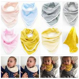 Wholesale Newborn Baby Handkerchief - Baby Bibs Pom Pom Burp Cloths Infant Handkerchief Napkin INS Triangle Saliva Bavoir Towels Newborn Turban Cotton Bandana Head Scarf B3532