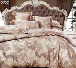Wholesale Silk Beddings - Luxury bedding set palace silk bed set 4pcs bedclothes satin duvet cover cotton bed sheet satin pillowcases tencel beddings 5352