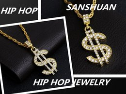 Wholesale Indian Gold Dollar - Euro American dollar Pendant Necklace, hip hop jewelry, gold-plated drill symbol, pendants, men's necklace, high quality