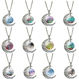 Wholesale Dangle Piercing Jewelry - Fashion Pierced Carving Moon Pendant Necklace Dangle Tree Of Life Charms Antique Silver Plated Necklace For Women Jewelry Gift